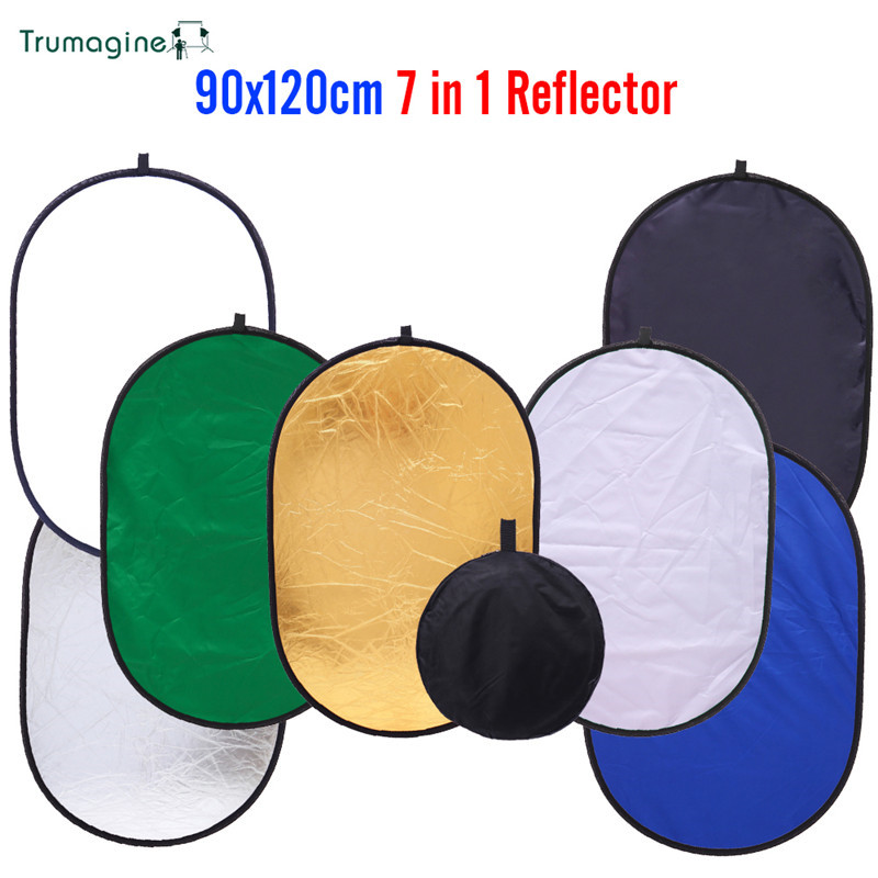 TRUMAGINE 90 *120CM 7 in 1 Collapsible Portable Photography Studio Oval Light Reflector Free Shipping