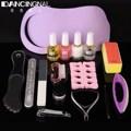 Pro Salon Nail Art Set Nails Cleaning Brush Sanding File Buffer Cuticle Nippers Base Coat Nail & Foot Manicure Predicure kit