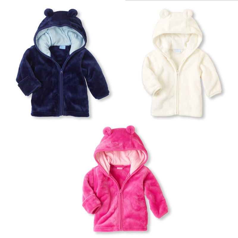 3-12M Winter Fleece Jackets Jackets Newborn Baby Girl Clothes Outerwear Coats Super Fleece Hooded Jacket Cute Kids Clothes V40
