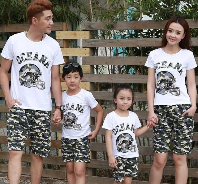 Бесплатная доставка семья наряды мама папа сын дочь комплект Oceana камуфляж майка + брюки семьи комплект