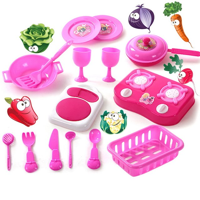 Perfect 1 Set Child Kids Dinning Toy Kitchen Tableware Toy Set Kids Cooking Tool  Play Cookware With