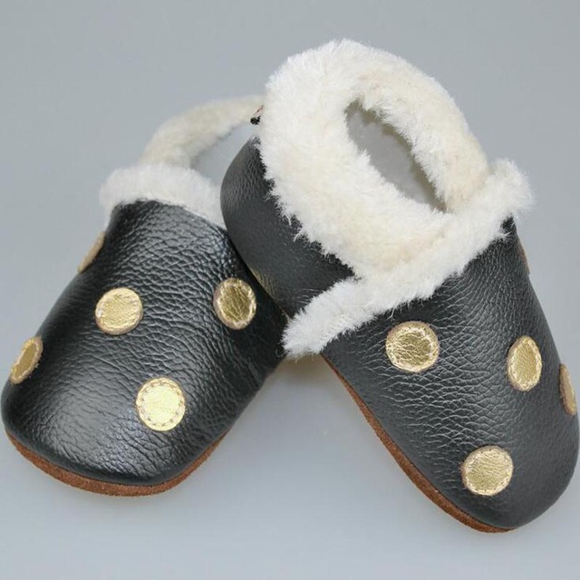 Fashion Genuine Leather Baby Moccasins Dot Warm Winter Baby Shoes Boy Black Anti-Slip Toddler Shoes