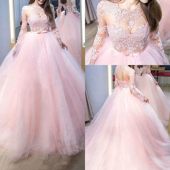 New Design Appliqued Tulle   Prom     Dresses   Long Sleeve High Neck Elegant Evening Party   Dress   vestido formatura