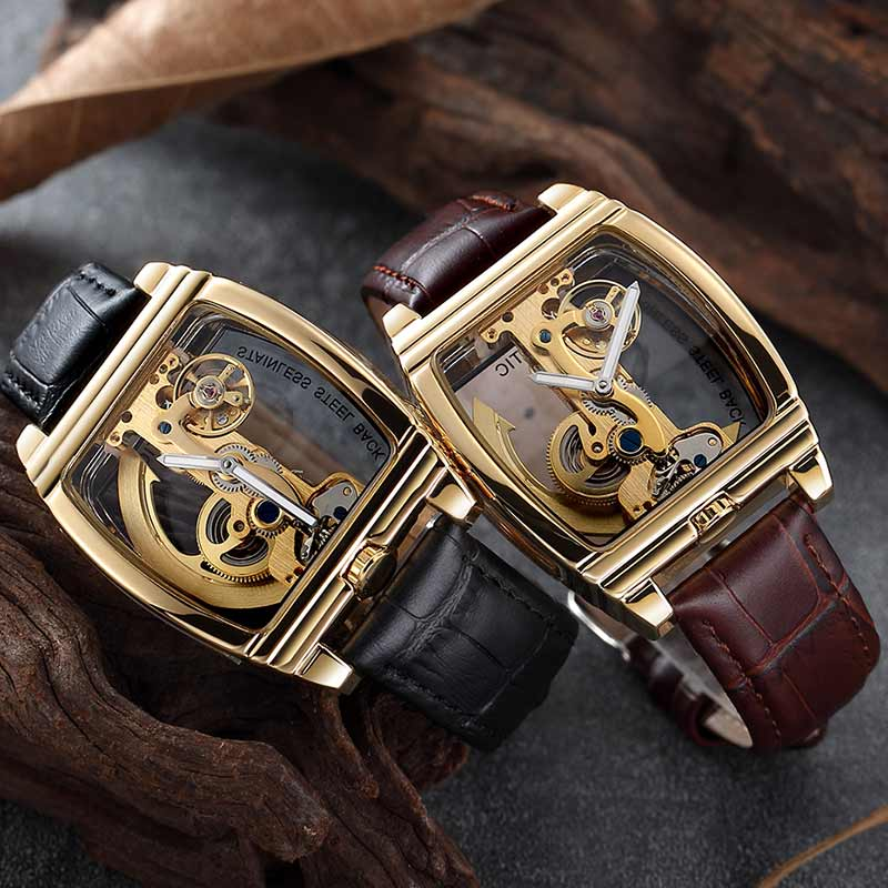 Fully Transparent Skeleton Automatic Mechanical Watch Men Steampunk Design Self Winding Leather Mens Clock Watches Montre