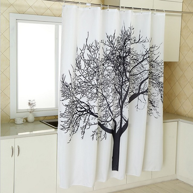 rideau de douche wish tree motif rideau de douche salle de bain tanche polyester tissu noir. Black Bedroom Furniture Sets. Home Design Ideas