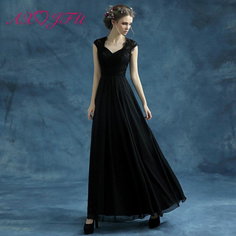 AXJFU princesse noir robe de bal nouvelle robe de bal noir dîner fête dans la dentelle noire robe de bal 10096 S