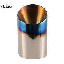 Car Stainless Steel Chrome Round Silver Blue Tail Muffler Tip Pipe Automobile Single Exhaust Pipes Tips