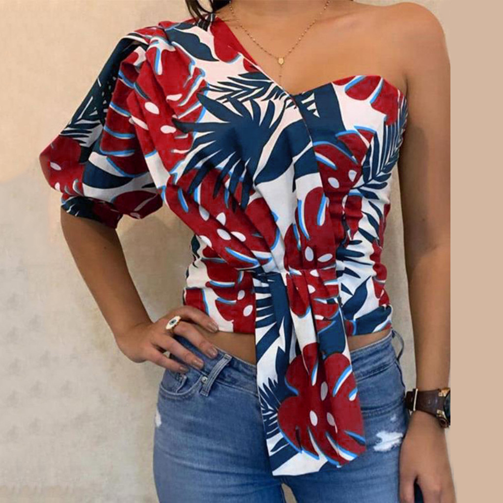 HTB1rC2VaeH2gK0jSZFEq6AqMpXaz - JAYCOSIN blouses Women Summer fashion sexy Printed One Shoulder Half Sleeve V-Neck Ruffles Tops Blouse poleron mujer 9715