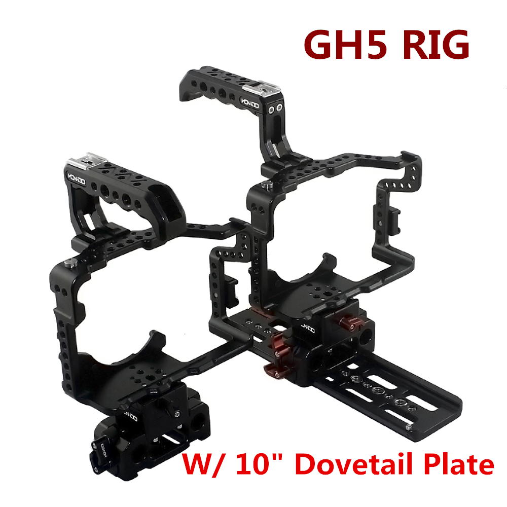 DSLR RIG Hontoo For Panasonic GH5 Rig Kit Cage Baseplate Top Handle dovetail plate 15mm camera rig for gh5 4K 6K video film yelangu aluminum alloy camera video cage kit film system with video cage top handle grip matte box follow focus for dslr