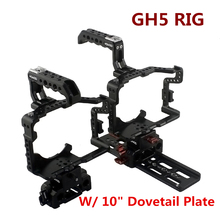 Фотография DSLR RIG Hontoo For Panasonic GH5 Rig Kit Cage Baseplate Top Handle dovetail plate 15mm camera rig for gh5 4K 6K video film