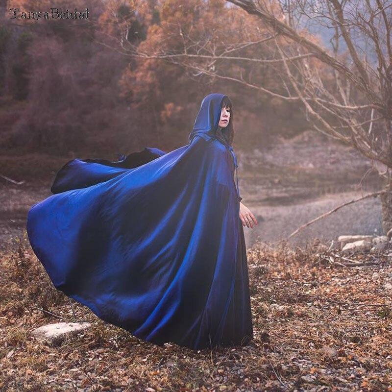 Blue Velvet Wedding Cape, Elven ,wizard Or Witch, Medieval Fantasy Cloak With Hood Medieval Bridal Shawl 1.8m Long DJ020