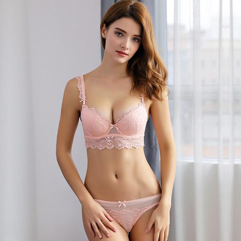 Buy OranriTing Sexy Lingerie Set Gathering Lace Underwear Women Adjustable Push Bra Set ABCD Cup Intimates Padded Bra Panty