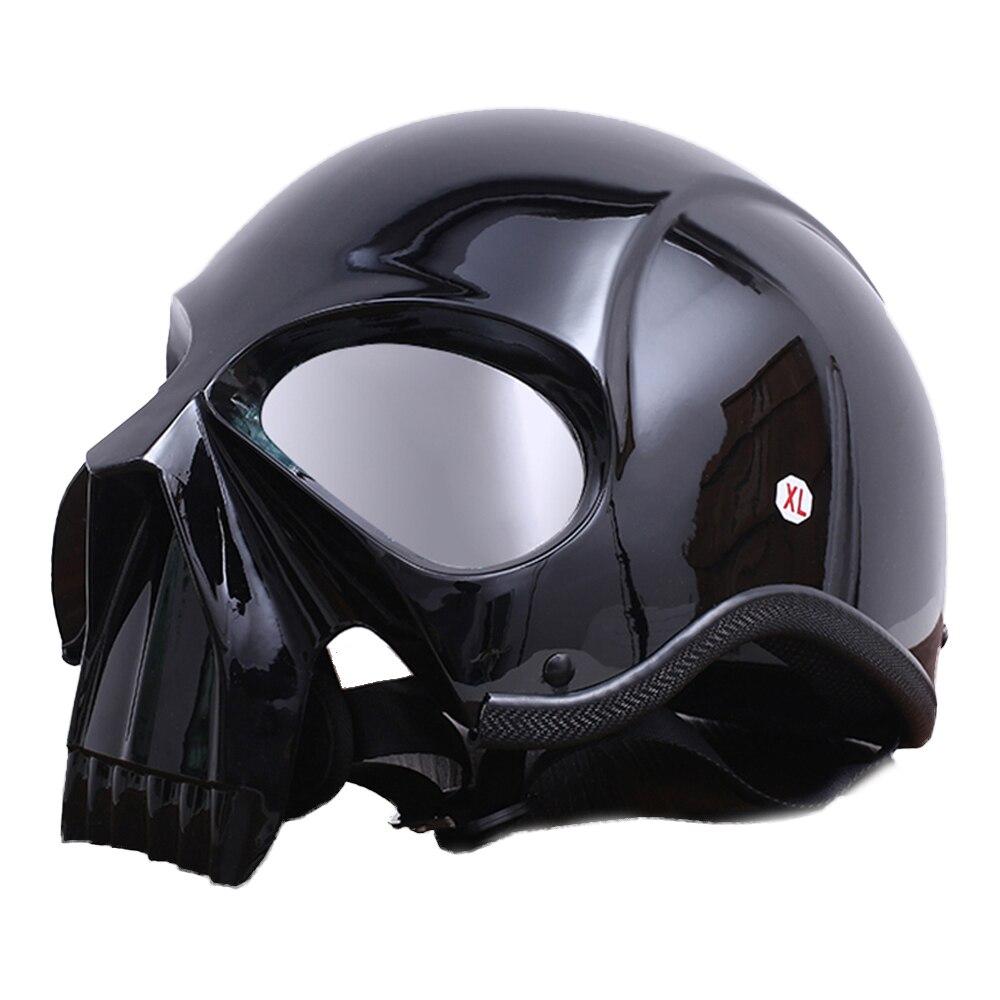 AMZ casque de Moto horreur crâne Vintage Moto rétro modélisation Crash casque Moto demi-visage casque pour Moto