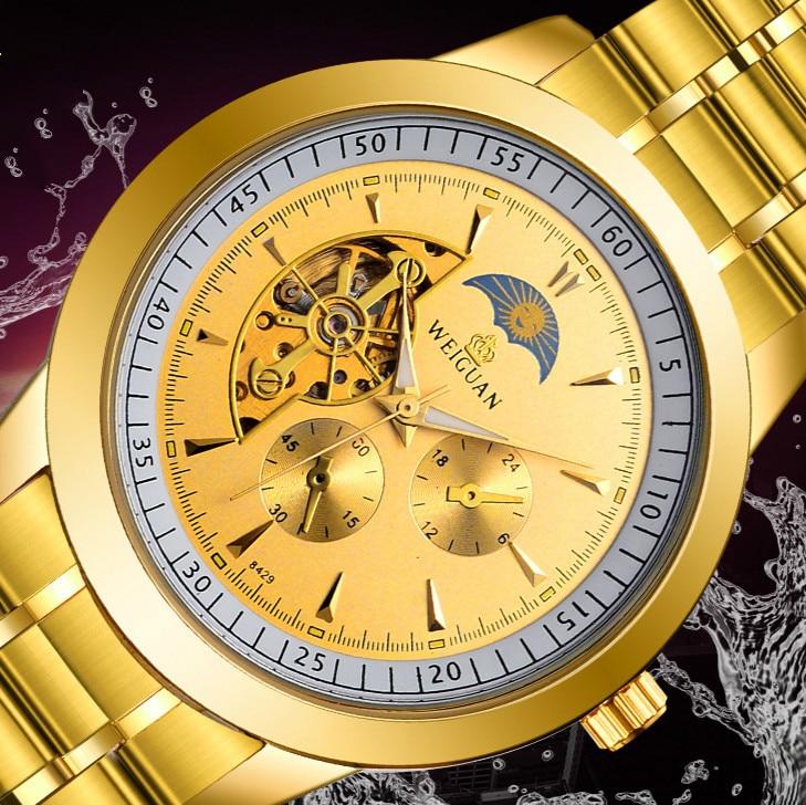 59d04cb2d86 Ouro dos homens Casual Mens Assistir Top Marca de Luxo Automático do Relógio  de Pulso Mecânico Esqueleto de Aço Inoxidável Dos Homens 20mm Reloj Hombre