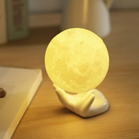 Moon Light Rechargeable 3D Print Moon Lamp 2 Color Change Touch Switch Bedroom Bookcase Night Light