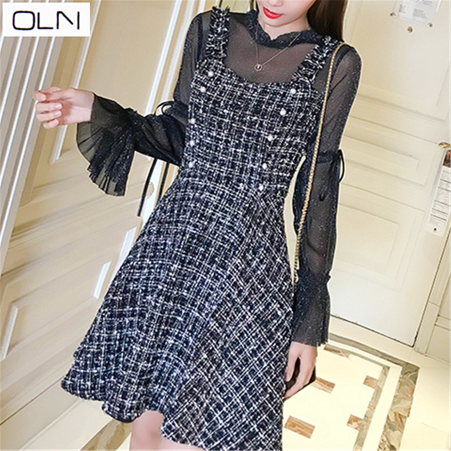 OLN Hong Kong style spring and summer new woolen ladies small fragrance fake two piece dress female