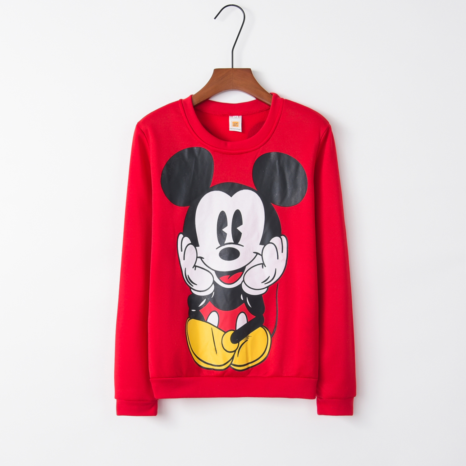 2016 Fashion New European Mickey Printing Sweatshirt Hoodies Long Sleeve Loose Women Crewneck Size S-XL Hot Sale 2016