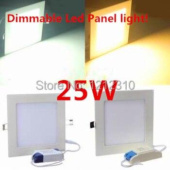 Regulable, Ultra delgado, 6W/9W/12W/15W/25W, lámpara cuadrada led para techo, blanco frío/blanco cálido, panel de luz de AC85-265V