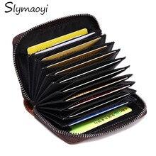 Echtes Leder Unisex Kartenhalter Brieftaschen Öl Wachs Leder Weibliche Kreditkarte Halter Frauen Kissen Reißverschluss Vintage Geldbörse
