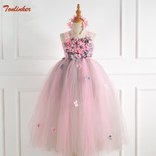 Pink Princess Dresses Children Girls Evening Party Dress 2019 Summer Kids For Costume Flower Wedding New