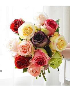 Rose Home Silk Decorative Flowers thailand Wedding Bridal Bouquets kitchen display