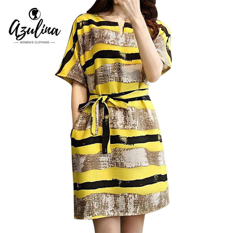 Azulina 2017 vestido amarillo mujer suelta más el tamaño de rayas mini dress gir