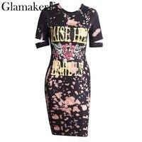 Glamaker Floral Bodycon Casual Dress Women Short Sleeve Cool Dress Punk Short Summer Dress Party Club