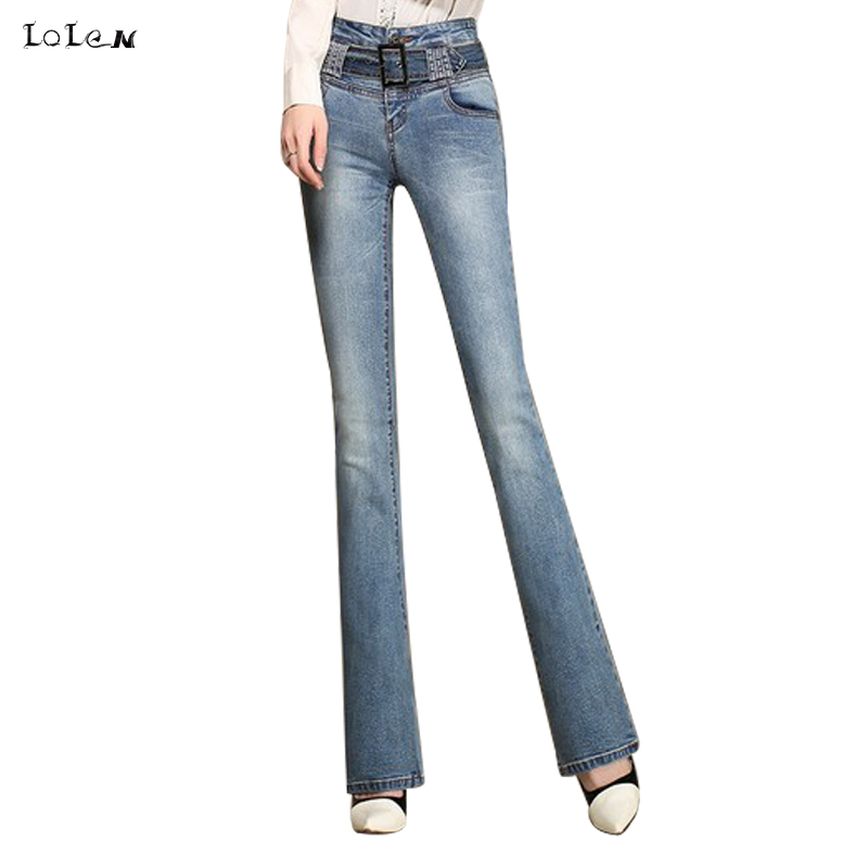 LOLEN High Waist Plus Size Jeans Fashion Slim Stretch Flared Pants for Women