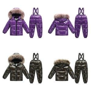 Image 2 - Orangemom offizielle store2018 mode metall farbe winter jacke kinder kleidung anzug für jungen mädchen mantel unten kinder schneeanzug