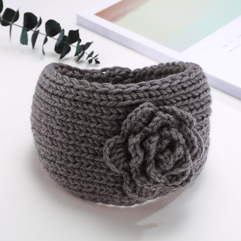 1PC Girls Knit Flower Solid Earwarmer Wool Button Headbands Children Cute Hair Ornament Hairbands Kids Headwear Hair Accessories