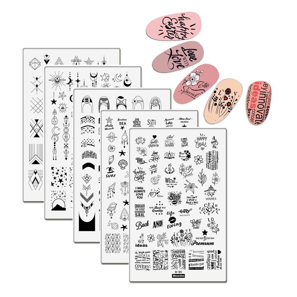 5Pcs Big Template 14.5*9.5cm Sun Planet Moon Star Nail Art Polish Stamping Plates 3D Sea Shell Stencil for Nails Stamp