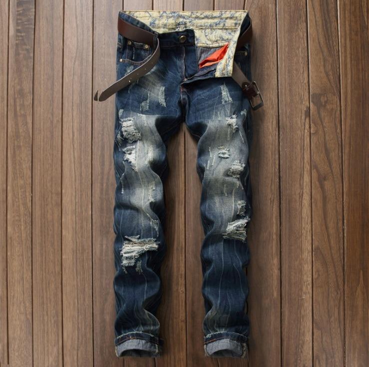 European American Style 2017 fashion brand Men's casual denim trousers jeans Slim Straight jeans blue Hole jeans pants for men