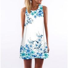 Women Casual Beach Floral Print Tunic Sleeveless Short Chiffon Dress (29 prints)