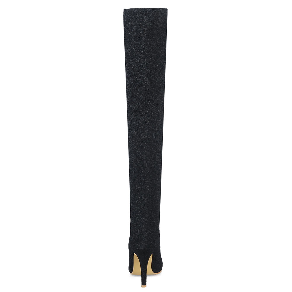Lasyarrow Sexy Stretch Long Boots Women `s Shoes Elegant Fashion Black Red  Thigh High Stiletto Boots Gold Silver High Heels Boots 6d24342a87d8