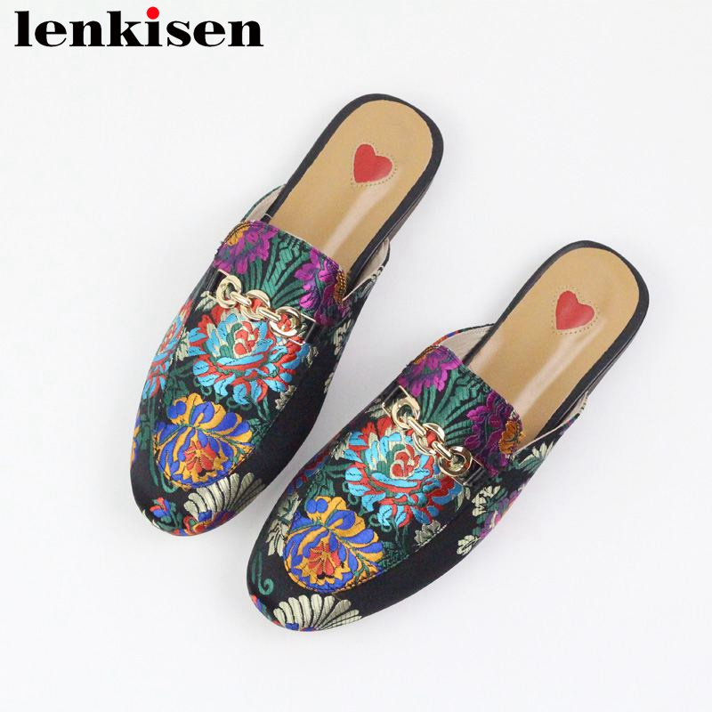 Lenkisen 2019 genuine leather slip on outside slippers oriental embroider mules metal decoration streetwear fashion women