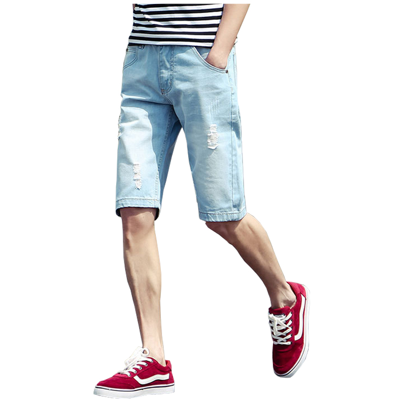 Summer Men Short Jeans Denim Trousers Knee Zipper ...