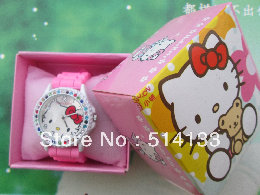 Lovely children watch girls girls students belt hello Kitty cat fashion diamond table  in box 1pcs hello kitty watch women watch set auger watch fashion gift table in box 1pcs