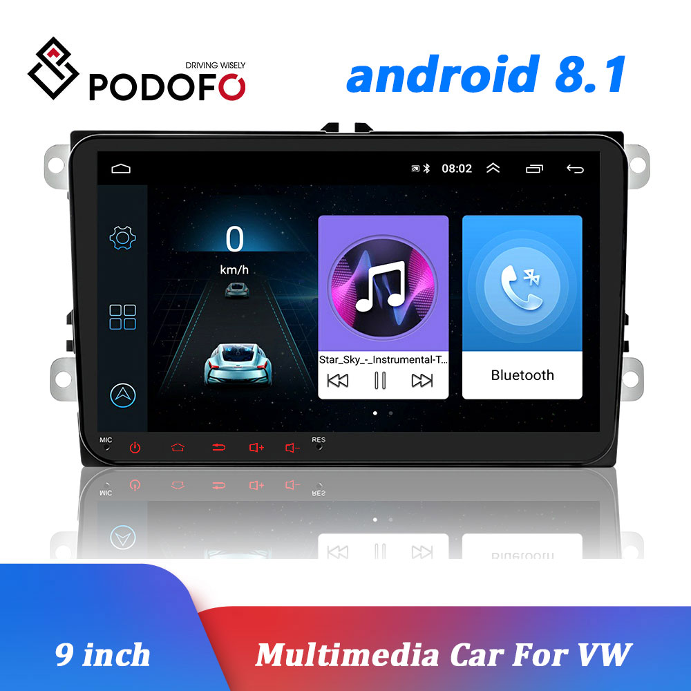Podofo voiture Android 8.1 2 Din Radio GPS lecteur multimédia Wifi miroir lien Autoradio pour VW Skoda Octavia golf touran passat polo