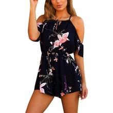 Women Rompers Flower print Jumpsuit Summer Short Off shoulder Overalls Jumpsuit Female chest wrapped strapless Playsuit #KJ2150