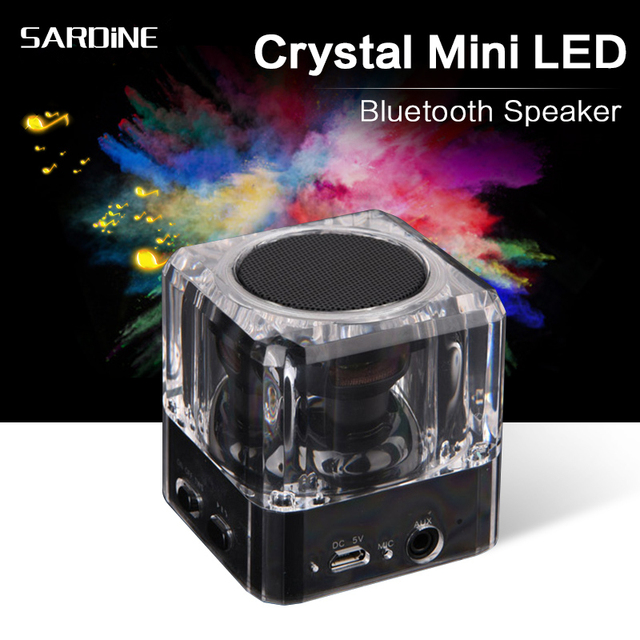 Anko Bluetooth Portable Speaker Crystal Look: SARDINE B6 Mini LED Bluetooth Speaker Portable Speakers Crystal Plasticmp3 Player Cube 3W Full