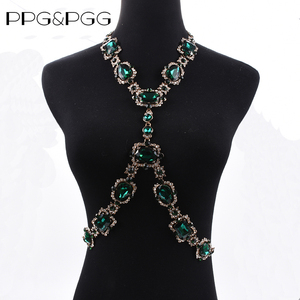 Image 3 - Bohomian Green Crystal Body Necklace Women Body Jewelry Waist Chain Necklace Femme Big Choker Maxi Statement Necklace For Women
