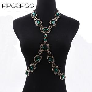 Image 3 - Bohomian verde cristal corpo colar feminino corpo jóias cintura corrente colar femme grande gargantilha maxi colar de indicação para mulher