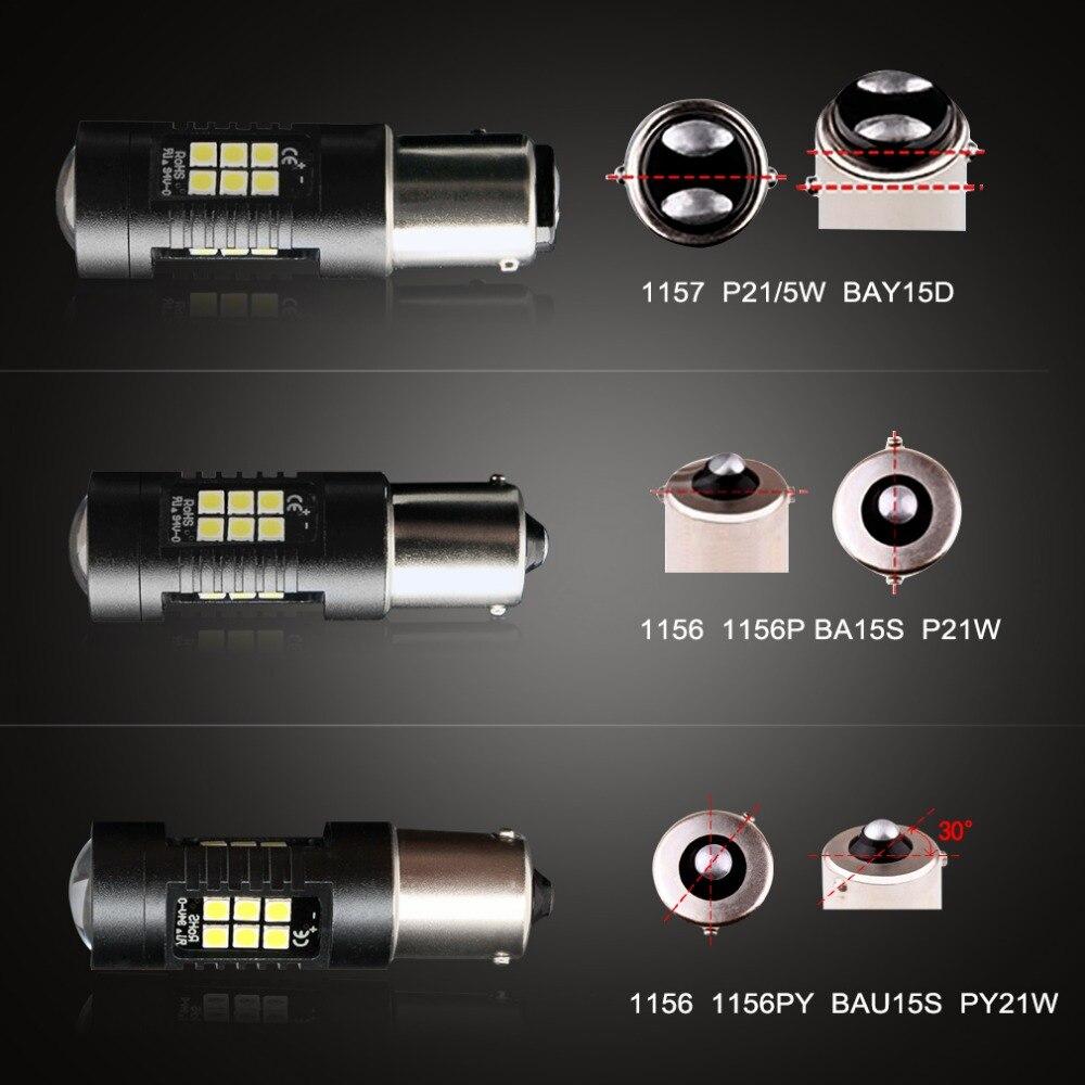 Ampoules automobiles 1156 12V-24V, 2 pièces LED BA15S P21W LED BAU15S PY21W BAY15D 1157 ampoule lumière LED P21/5W R5W, 21 pièces 3030SMD, ampoules automobiles