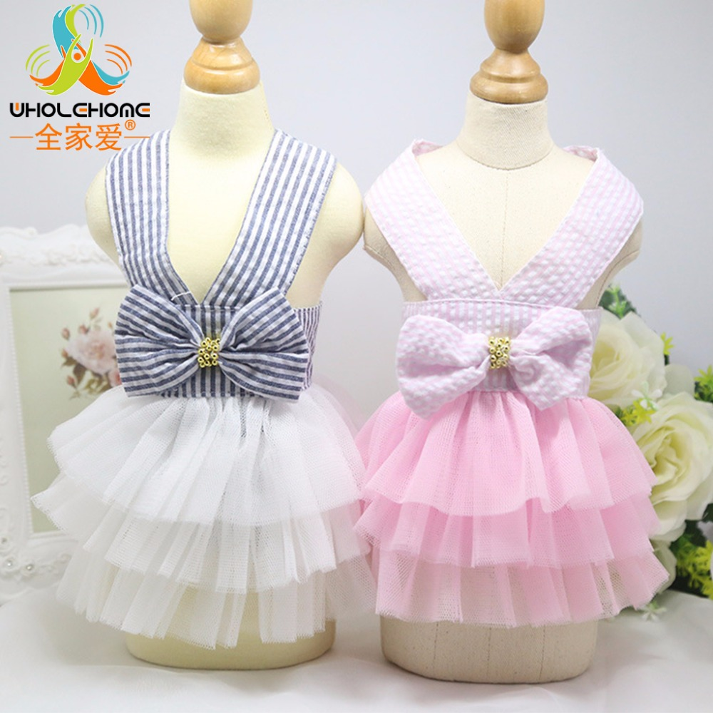 Summer Bowknot Lace Costume Pet <font><b>Dog</b></font> Striped <font><b>Dress</b></font> Cat <font><b>Dog</b></font> Puppy Wedding Princess Tutu Skirt Cotton Floral <font><b>Dog</b></font> Clothes XS - <font><b>XXL</b></font> image