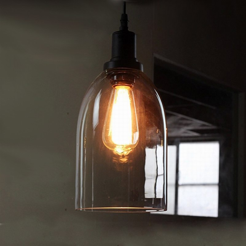 ФОТО Modern Clear bell glass pendant lights lamps Hanging wine bottle with Edison bulb for Kitchen Dining room Light  fixtures