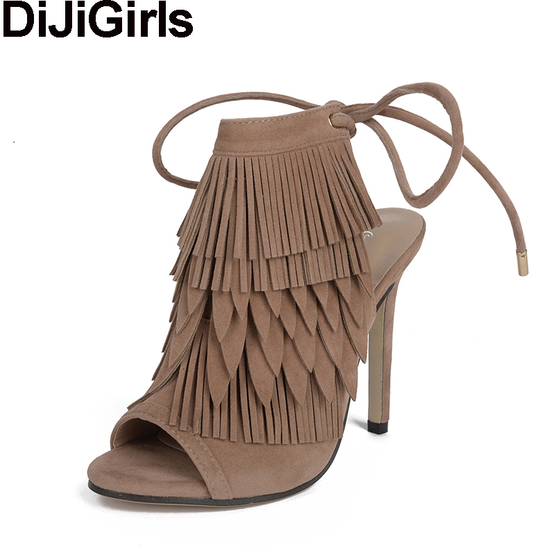 DiJiGirls fashion women pumps high heels peep toe sandals ankle boots fringe flock stilettos shoes woman slingback shoes bootie купить