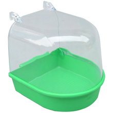 Small Bird Green Water Bathtub Clean Box Non-toxic Plastic Parrot For Pet Birds Cage Hanging Bowl Parakeet