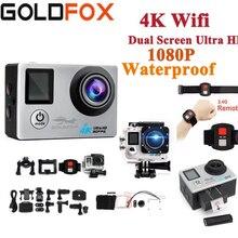 Спортивная Экшн-камера Ultra HD 4K WiFi с двойным экраном 1080 P, Спортивная камера 16 Мп, водонепроницаемая камера для подводного плавания на шлем, видео камера с дистанционным управлением