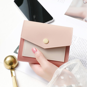 Brand Women Wallet New Colorblock Short Envelope Design Purse Multifunction Card Holder Coin Purse Small