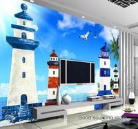 Mediterranean Style Lighthouse Sea Photo Wallpaper